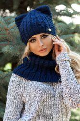 Комплект Лекси шапка-кошка и шарф-хомут