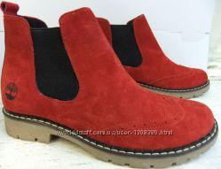 Timberland женские красные ботинки натуральный нубук весна осень