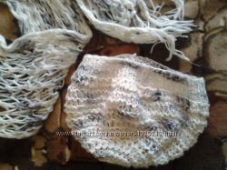 Белый мягкий шарф 2м. , шапка-берет в подарок