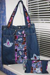 Эксклюзивные джинсовые сумки и рюкзаки  ручной работы