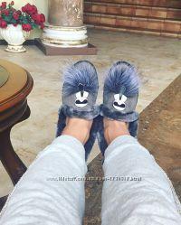 Серые женские ботинки с мехом утепленные на танкетке стильные недорого
