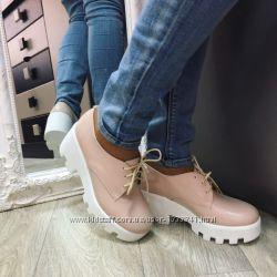 Туфли - броги натуральный замш, кожа, лак 36 по 40 рр.