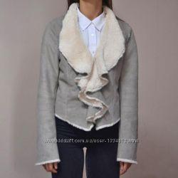 Теплая серая куртка дубленка new look размер m