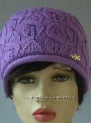 РАСпродажа Вязаная шапочка двойная с шерстью мериноса украшеная бусинками