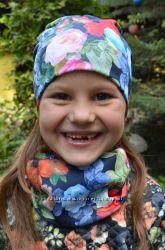 Детские двойные шапочки и хомуты для девочек