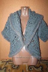 жилетка накидка болеро вязаное с мехом