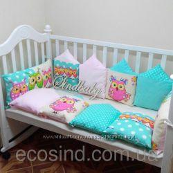 Бортик-защита для люльки и детской кроватки Совушки в домике