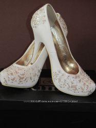 Новые Свадебные туфли, блестящие, 35 идут на 36