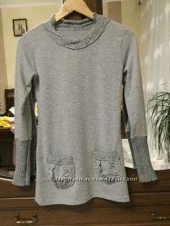 Свитер удлиненный с вязаными вставками джемпер пуловер