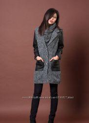 Пальто на осень с отделкой из эко кожи