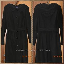 Шерстяное черное пальто