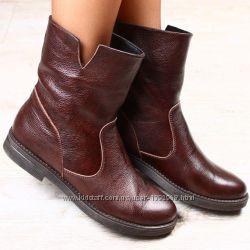 Ботинки на баечке натур. кожа коричневые 36, 37, 38, 39, 40р