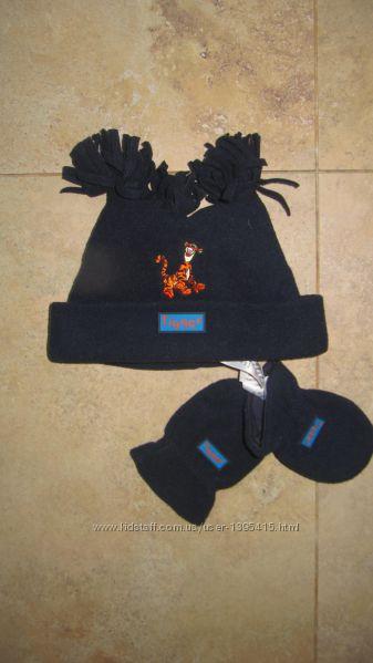 Новый флисовый набор шапочка и рукавички Disney, 3-6 мес