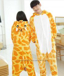 Пижама кигуруми костюм с капюшоном стич пикачу жираф единорог панда