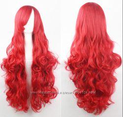 Парик волнистый 80см косая челка белый красный голубой рыжий розовый серый