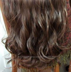 Трессы Шиньоны Накладные волосы на ленте натуральный оттенок волнистые