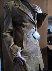 Новый элегантный кожаный демисезонный френч