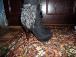 Зимние ботинки с чернобуркой