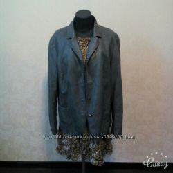 Продам куртку пиджак серую кожзам