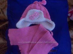 КРАСИВЫЙ Комплект зимняя шапочка и шарфик с 6 до 24 мес.
