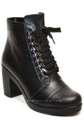 Кожаные ботинки на дизайнерской шнуровке