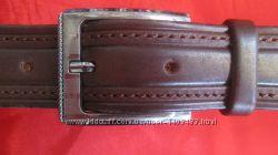 Классический коричневый ремень со строчкой