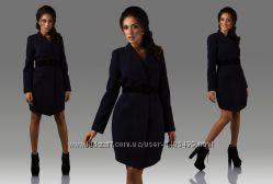Осеннее женское пальто кашемировое до колена, с поясом