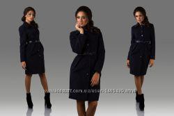 Кашемировое строгое пальто на пуговицах с ремнем в комплекте