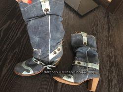 Сапоги женские джинсовые 38 р