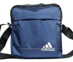 Мужская сумка спортивная синяя со значком ADIDAS