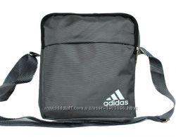 Мужская сумка спортивная серая со значком ADIDAS