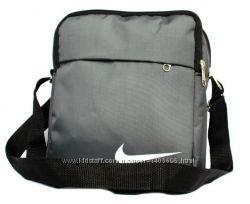 Мужская сумка спортивная серая со значком NIKE