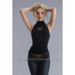 Бесшовная женская футболка с воротником стойка и перфорацией