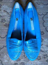 Кожаные Туфли Балетки H R Flexibles из США Голубые Женские Размер 37 Кожа