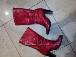 сапоги кожаные на каблуке размер 35 утепленные осень зима красные