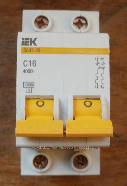 Новый автомат - Автоматический выключатель ИЭК IEK ВА 47-29 С16 2Р