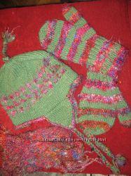 Тибетский комплект шапка шарф варежки Шерсть