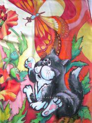 Платок Черный кот  батик