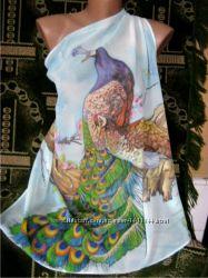 Платок Сказочные павлины  батик
