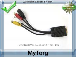 Vga-tv rca  s-video кабель переходник