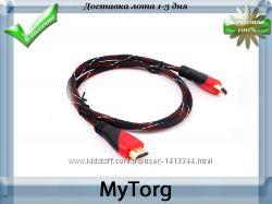 Hdmi кабель v1. 4 позолоченный с нейлоновой оплеткой av-кабель hd, 1, 5м