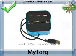 Мульти картридер с 3 портами all-in-one usb-hub combo