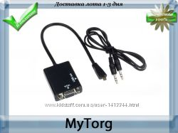 Адаптер переходник micro-hdmi в vga  audio выход