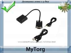 Переходник vga в hdmi с поддержкой full hd 1080p  аудио кабель