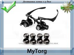 Лупа-очки со светодиодной подсветкой 9892gj, увеличение 10x 15х 20x 25x