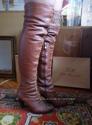 Сапоги ботфорты wit mooni кожаные нубук зимние.