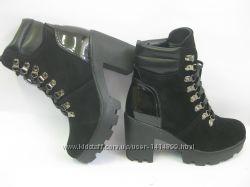 женские демисезонные и зимние ботинки из натурального замша и кожи