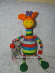 Жираф, мягкая игрушка, вязаный крючком