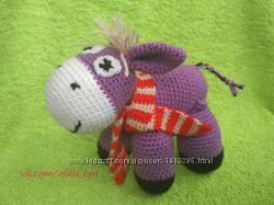 Ослик в шарфике, мягкая игрушка вязаная крючком ручная работа HandMade