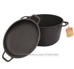 Кастрюля чугунная литая с крышкой-сковородкой, 3 л